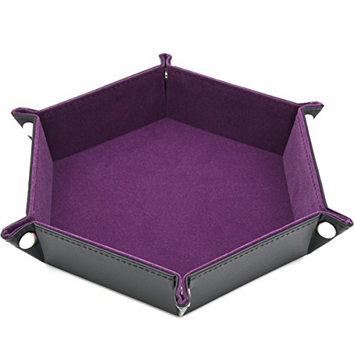 Dice PU Leather Folding Hexagon Tray w/Purple Velvet for RPG, DND, Other Dice Games and Storage