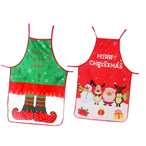 ABOOFAN 2 Piezas Delantales de Navidad Elf Santa Claus Muñeco de Nieve Reno Vacaciones Kithen Delantal Delantal Babero Traje de Fiesta de Navidad para La Cocina Casera