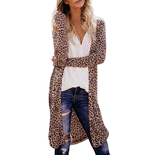 Coat for Womens, Sexy Leopard Print Cardigan Blouses Long Sleeve V-Neck Open Front Long Coat Tops Chaofanjiancai