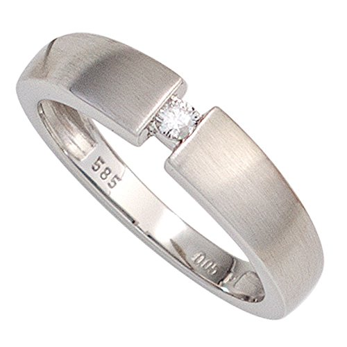 Goldring für Damen Ring mit Diamant Brillant 0,05 Ct. 585 Gold Weißgold mattiert, Ringgröße:Innenumfang 60mm ~ Ø19.1mm