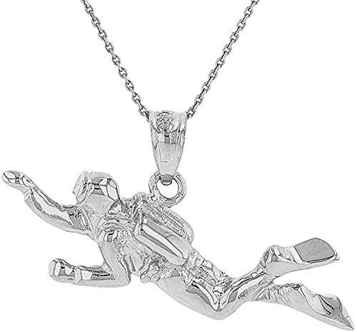 Encantos deportivos Collar con colgante de hombres rana de buceo 3D de plata esterlina