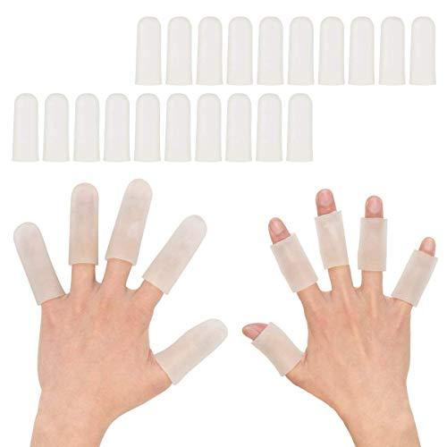 Gel-Fingerstulpen, 20 Stück, Silikon-Fingerschutz, Fingerschutz für Damen und Herren, ideal für Zeigefinger, rissige Finger, Fingerarthritis, Finger-Hornhaut