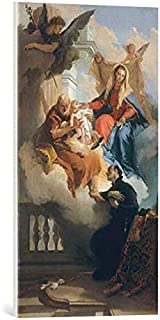 kunst für alle Canvas Print: Giovanni Battista Tiepolo The Holy Family Appears to Saint Cajetan Fine Art Print, Canvas on Stretcher, Ready to Hang Wall Picture, 15.7x27.6 inch / 40x70 cm