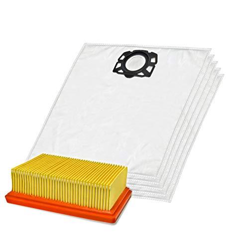Invest 5 bolsas de aspiradora + 1 filtro adecuado para Kärcher 2.863-006.0 WD4 WD5 WD6 MV4 MV5 MV6 filtro plano KA 33 2.863-005.0