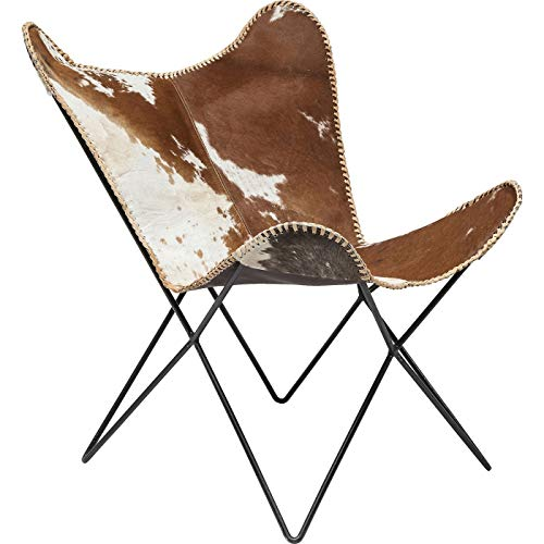 Kare Sessel Butterfly Fur, moderner Design Echtfellsessel im Retrolook, extravaganter Relaxsessel im Vintagestyle, Designstuhl; (H/B/T) 92x71x74cm