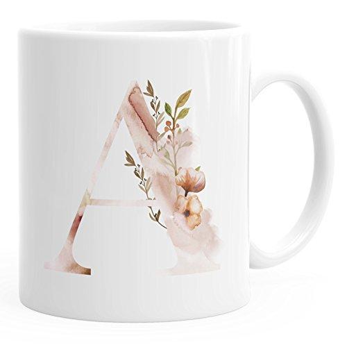 Autiga Buchstaben-Tasse A Tasse mit Buchstabe Alphabet Monogramm Watercolor gezeichnet Kaffeetasse weiß Unisize