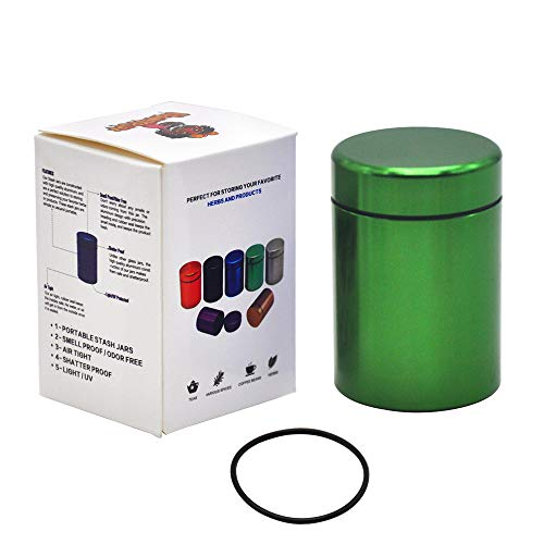 Stash Jar - Airtight Smell Proof Durable Multi-Use Portable Metal Herb Jar Container. Waterproof Aluminum Screw-top Lid Lock Odor -Green