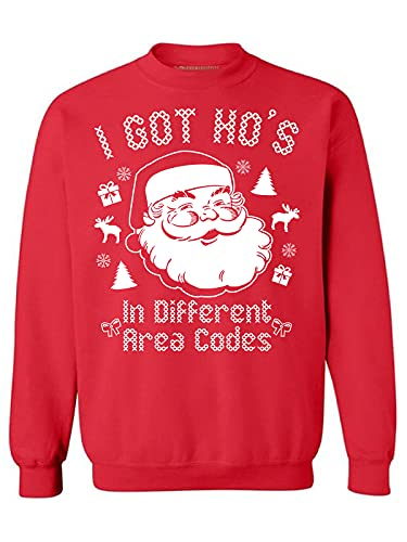 Awkwardstyles I Got Hos in Different Area Codes Sweater Ugly Christmas Crewneck L Red