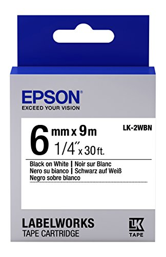 "Epson LabelWorks Standard LK (Replaces LC) Tape Cartridge ~1/4"" Black on White (LK-2WBN) - for use with LabelWorks LW-300, LW-400, LW-600P and LW-700 Label Printers"