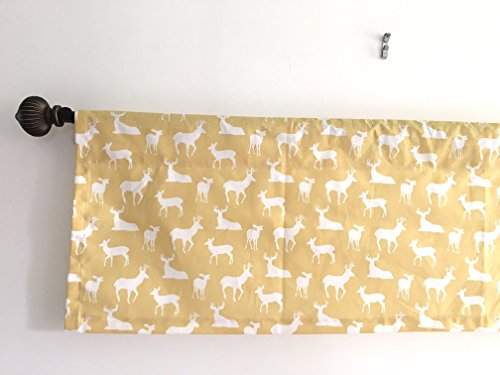 SALE Lowest Price Kitchen Curtain Kitchen Decor Window valance premier print Saffron Yellow and white Animal Prints cotton Deer Prints baby room Nursery Room Curtains 54x13, 54x14, 54x17, 54x20, 54x22