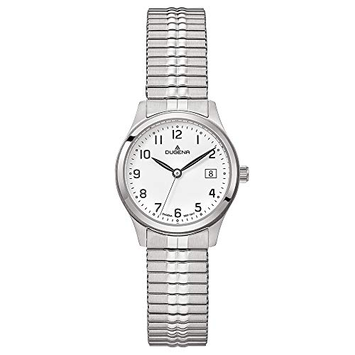DUGENA Damen-Armbanduhr Bari, Quarz, Edelstahlgehäuse, Mineralglas, Edelstahl-Zugband, 5 bar (Silber)