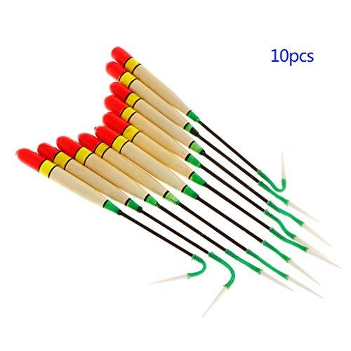 lailongp 10 Teile/Satz Fischen Schwimmen Holz Leuchtende Leuchtstoff Stick, Boje Boje Schwimmende Fisch Schwimmt Reed Holz Angelgerät Professionelle Zubehör Umwelt