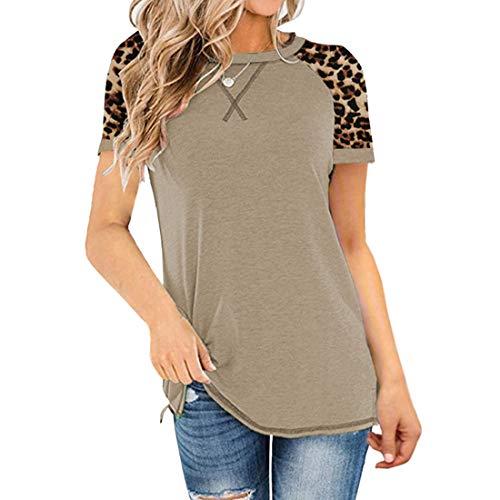 Tops de Mujer Bloque de Color de Manga Larga Blusa Suelta Informal Túnica Camiseta Pullover Tops de Mujer Blusas Camisetas Pullover con Estampado de Leopardo Camiseta de Cuello Redondo Camisa básica