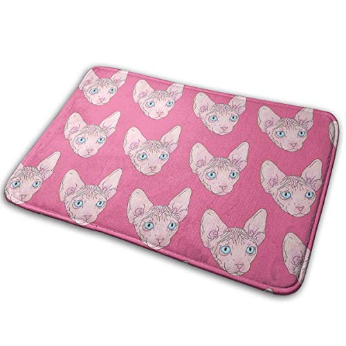 Balance-Life Pink Sphynx Cat Pattern Home Doormats Unique Indoor Outdoor Mats Anti-Skid Bathroom Doormats Lovely Kitchen Mat-40x60cm