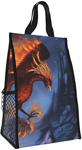 Bolsa de almuerzo plegable, bolsa de picnic portátil de gran capacidad Phoenix con aislamiento para viajes de oficina de trabajo