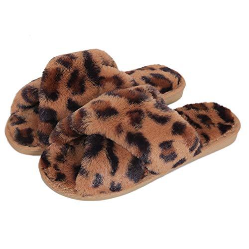 Fadezar Hausschuhe Damen Plüsch Pantoffeln Warme rutschfeste Flache Flip Flop Bequeme Filzhausschuhe für Damen,Braun Leopard,41/42 EU (Herstellergröße 42/43)
