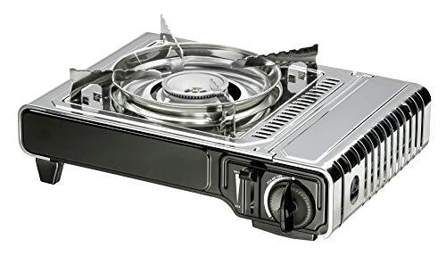Enders® Campingkocher NELSON 1880 Leistung 2,2 kW, Kartuschenkocher, inkl. Tragekoffer, für Ventil-Gaskartusche, Überdruck-Sicherheitsabschaltung, Silber