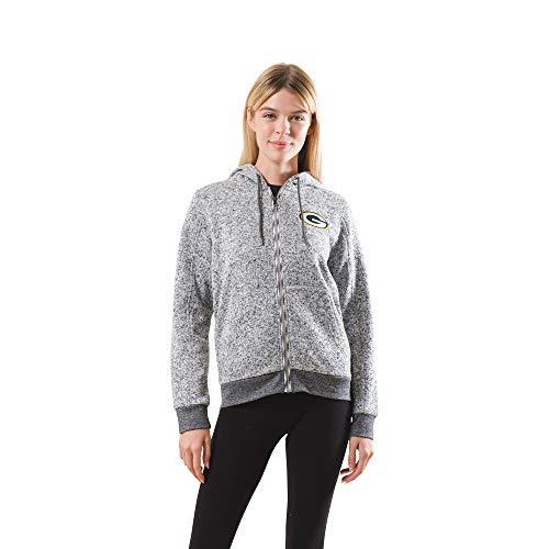 Ultra Game NFL Green Bay Packers Womenss Full Zip Fleece Hoodie Letterman Varsity Jacket Sweatshirt Marl Knit Jacket, Team Color, Large