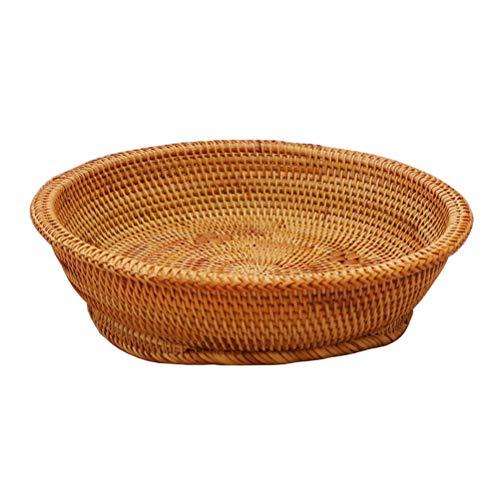 the teapot company Natural Rattan Ronda De Pan De Fruta Bowl Cesta, Tejido A Mano La Cesta del Almacenaje, Comedor Mimbre Caja De Almacenamiento (de Dos Piezas) (tamaño : L)