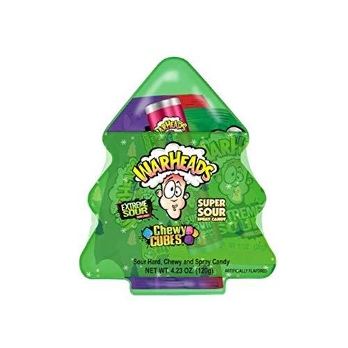 Warheads Super Sour Árbol de Navidad – Extreme Sour Hard Candy – Spray súper agrio – Cubos masticables – 120 g