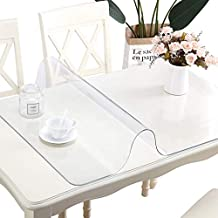 LinkGro 2 Sets Clear Plastic Table Cloths Crystal Table Runner EndTableProtector Crystal Coffee Table Top PVC Table Runner Table Cover Waterproof Plastic Tablecloth Cover Glass Table Mat 24X48 Inch