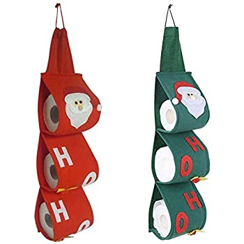 Santa Claus Paper Towel Holder Christmas Toilet Roll Organizer Papers Bag Napkin Pouch for Xmas Holiday Party Bathroom Home Décor Set of 2