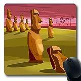 Alfombrillas de ratón Isla misteriosa Ídolos de piedra Vacaciones de turismo Patrimonio tropical Parques de Pascua Moai Chile Polinesia Alfombrilla de ratón antideslizante para juegos Alfombrilla de g