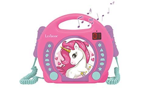 Lexibook- Lecteur CD Portable Licorne avec Micros, Poignée, Programmation, Répétition, Karaoke, Cheval, Prise écouteurs, Enfant, Fille, Rose/Violet, RCDK100UNI
