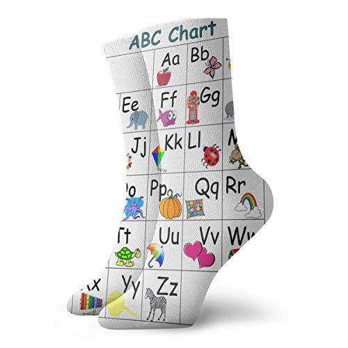 artyly My ABC Alphabet Learn Table Posters Calcetines de tobillo Calcetines cómodos informales para hombres Mujeres Yoga Senderismo Ciclismo Correr Fútbol Deportes