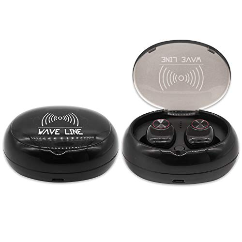 WaveLine Wireless Bluetooth Earbuds with Charging Case, True Wireless Earbuds Bluetooth 5.0, Waterproof Sports Earphones for Running, Noise Cancelling Headset/w Built-in Mic, 20H Playtime (Black)