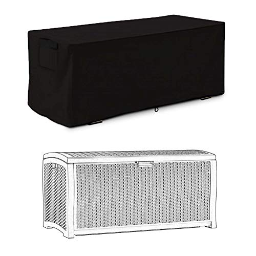 Befirstore Abdeckung Gartenmöbel, Outdoor Deck Box Cover,Garten wasserdicht UV-Schutz Aufbewahrungsbox Schutzhülle, Auflagenbox Cover für große Deck Boxen Schutz (123cm)