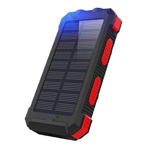 Wireless Solar Cargador portátil 26800mAh del Banco móvil de alimentación brújula del teléfono móvil de la energía Solar para el Aire Libre Rojo