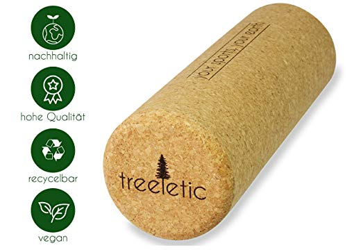 Treeletic nachhaltige Faszienrolle aus 100% Kork in Premium Qualität   Faszientraining und Selbstmassage   Umweltfreundliche Fitnessrolle   Frei von Plastik   30x10cm
