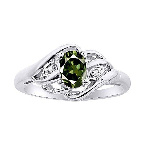 Juego de anillos de zafiro verde y diamante en plata de ley con piedra natal