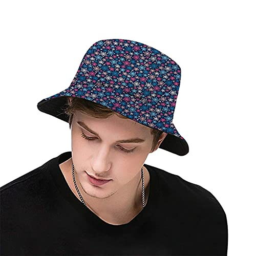 Snowflake,Simplicity Winter Colorful Pattern Christmas Theme Print,Bucket Hats Unisex Print Hat Outdoor Summer Cap Hiking Beach Sports Fisherman Hat Couple Hats