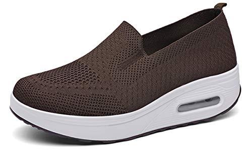 Zapatos Deporte Mujer Zapatillas Deportivas Casual para Mujer Running Caminar Fitness Atlético Transpirable Ligero Sneakers, Marrón, 40 EU