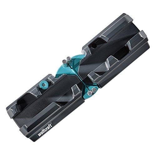 """Wolfcraft 1 Soporte de ajuste y corte, función """"2 en 1"""" 6948000 Caja de Ingletes de Acero 2 en 1 con Bisectriz para Cortar Zócalos de Hasta 70 mm de Altura y Medir Ángulos Sólidos, Negro"""