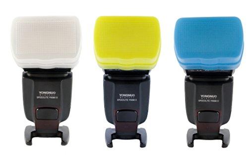 Juego de 3 Difusores, blanco, amarillo y azul para Flash Neewer TT520, Yongnuo YN560 II / III y YN565EX