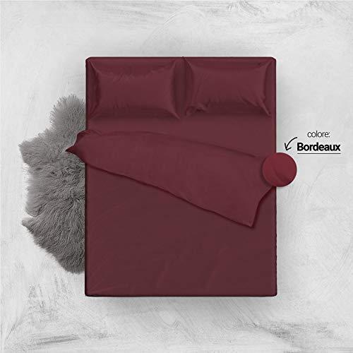 L'ANTICO ARCOLAIO Set Completo Letto Lenzuola 100% Cotone Tinta Unita (Bordeaux, Matrimoniale 2P)