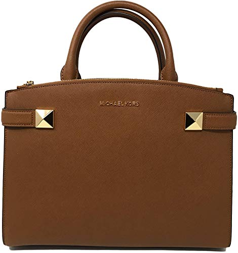 "Saffiano leather with gold tone hardware; Overlap bridge magnetic closure. Approximate measurement 10"" (H) x 12.8"" (L) x 4.5"" (D); Double handle with 4.25"" drop Adjustable and removable crossbody strap with drop length of 22"". Interior features 1 zip..."