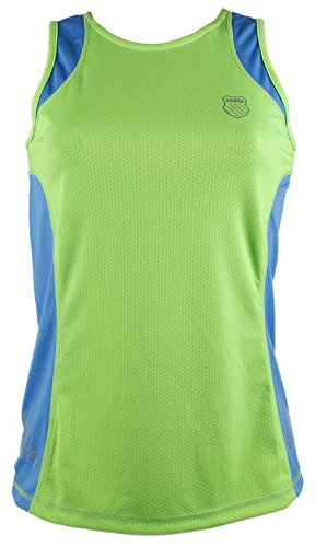 K-Swiss RA102.325.M Camiseta, Mujer, Verde neón/Azul océano