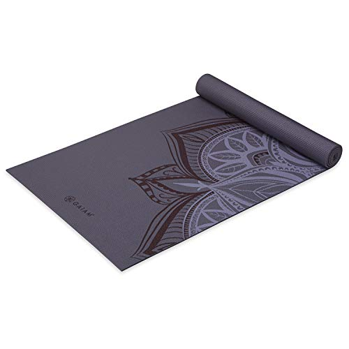 Gaiam Yoga Mat Classic Print Non Slip Exercise & Fitness Mat for All Types of Yoga, Pilates & Floor Workouts, Aubergine Point, 4mm