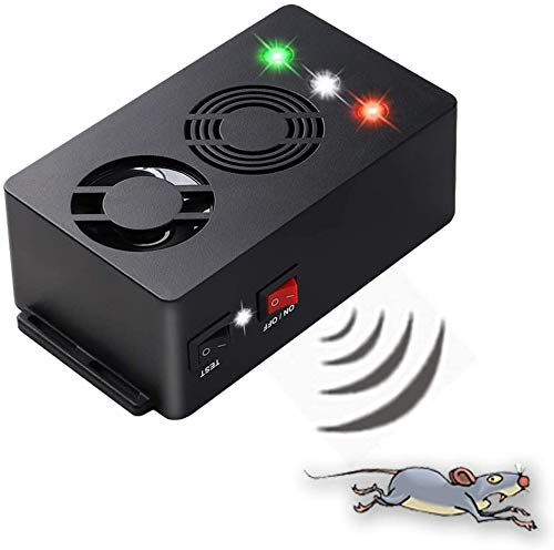 Angveirt Under Hood Rodent Repeller Battery Operated Rodent Pest Repellent Mouse Rat Repeller Electronic Ultrasonic Mice Repeller with Strobe Lights Deterrent Under Hood Animal Repeller