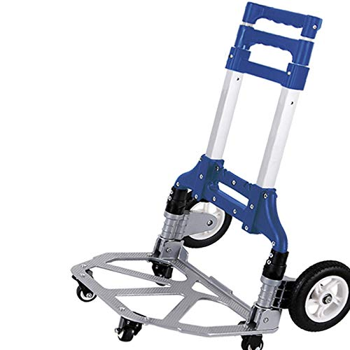 suneagle Hand Cart Trolley,Heavy Duty Aluminium 80Kg Foldable Hand Sack Truck,Industrial Warehouse Sack Truck, L Shape, Ergonomic Handle Also, Comfortable Tool For Home, Vehicles, Office,Travel,Blue