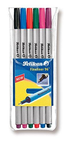 Pelikan 940650 Fineliner 96, 6 Stück, 6 Farben, etui