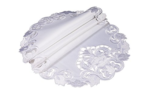 Xia Home Fashions XD17101 Garden Trellis Embroidered Cutwork Round Placemats, 15-Inch, White, 4 Piece