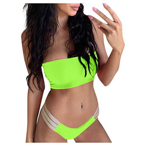 WENOVL Trajes de baño para Mujer 2020,Traje de baño para Mujer Conjunto de Bikini a Rayas de Colores Sujetador Acolchado Push-up Baño Ropa de Playa