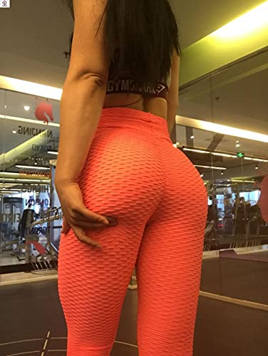 ArcherWlh Yoga Pantalones,2021 nuevos Pantalones de Yoga de Cintura Alta Fitness Sexy Leggings-Jacquard Naranja_SG