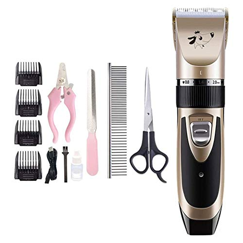 LYYJIAJU Pet Barber pers Pet Hair Cordless Clippers,Dog Clippers Grooming Kit,Low Noise,Rechargeable,Ceramic Cutter Head,Charge/Plug in Dual-Use,Best Goods for Your Pet Friends