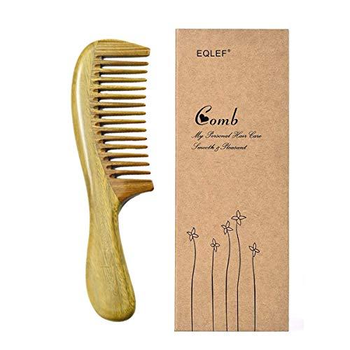 EQLEF, pettine naturale a denti larghi, in legno di sandalo verde, pettine antistatico